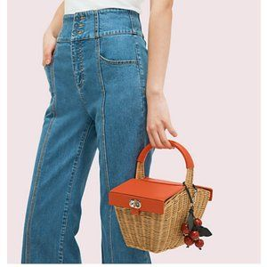 kate spade picnic 3d wicker picnic basket bag nwot